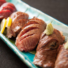 Assorted rare beef steak sushi