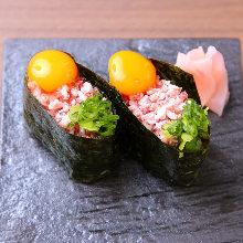 Beef gunkan sushi rolls