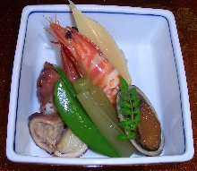 Simmered fish and vegetables