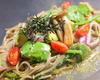 Black fried noodles with avocado Kyoto vegetables mix