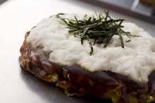 Pork okonomiyaki topped with grated yam
