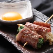 牛すき焼き串(卵黄付き)