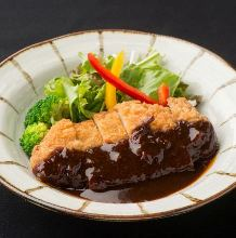 Pork cutlet with sauce