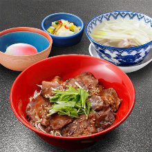 Beef tongue rice bowl meal