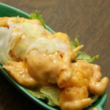 Stir-fried shrimp with mayonnaise