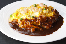 Rice omelet with demi-glace sauce