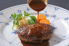 Hamburg steak with demi-glace sauce
