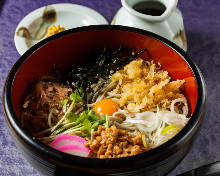 Natto on buckwheat noodles