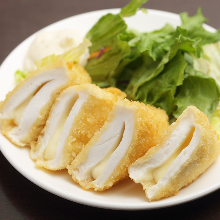 Fried Hanpen (pounded fish cake) with cheese