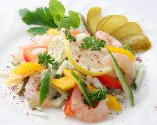 Shrimp and vegetable salad