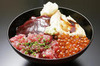 Karaku Donburi (Rice with Soy Sauce Marinated Tuna/Tuna Spine Meat/Conger Eel/Red Caviar)