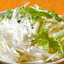 野菜盛り追加(水菜、白菜、笹ネギ)