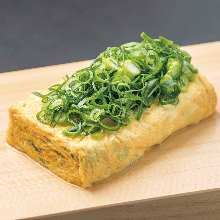 Japanese-style rolled omelet with Kujo leek