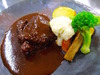 Beef Cheek Meat simmered in red wine, seasonal style