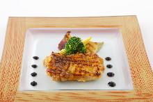 Grilled locally raised chicken steak