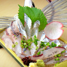 Flying fish sugata-zukuri (sliced sashimi served maintaining the look of the whole fish)