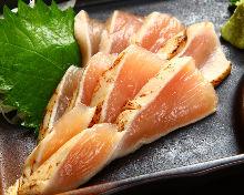 Slightly boiled chicken tenderloin with wasabi