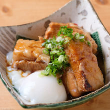 Simmered pork belly with soft-boiled egg