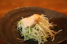 Daikon (Japanese radish) and cod roe salad