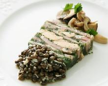 Pressed terrine of ham, foie gras and paisley