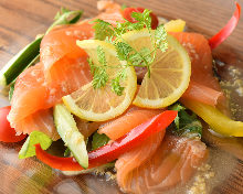 Seared salmon carpaccio