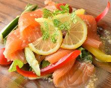 Seared salmon carpaccio