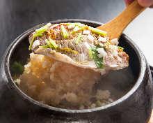 Minced sea bream and rice