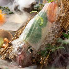 Live spear squid sashimi