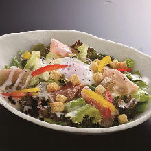 Slow-poached egg and raw ham salad