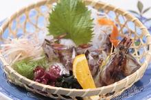 Live prawn sashimi