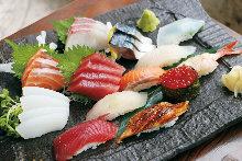 Assorted sushi and sashimi