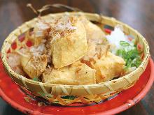 Fried bite size of Okinawan tofu
