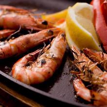 Charcoal grilled shrimp