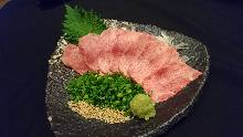 Beef tongue sashimi
