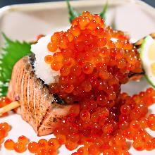Grilled fatty salmon