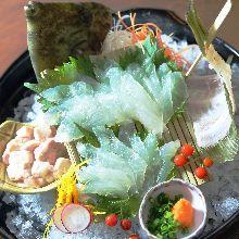Live thread-sail filefish sashimi