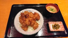 Fried food rice bowl