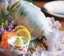 Live squid sashimi