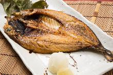 Horse mackerel cut open and dried