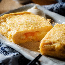 Japanese-style rolled omelet with marinated cod roe and cheese