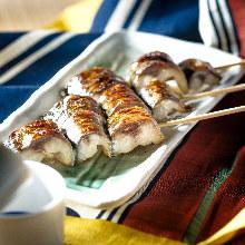 Grilled mackerel skewers