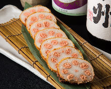 Deep-fried lotus root filled with mentaiko