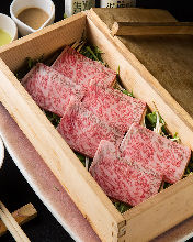 Beef steamed in a bamboo steamer