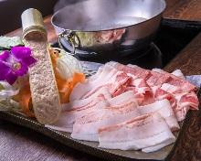 Steamed pork, pork shabu-shabu