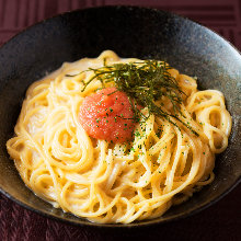 Pasta with mentaiko (marinated cod roe) cream sauce