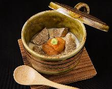 Sea urchin and truffle chawanmushi (steamed egg custard)