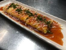 Japanese-style rolled omelet with cheese