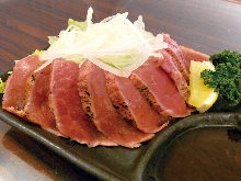 Pork tataki (lightly grilled on the outside)