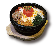 Stone-grilled spicy cod roe bibimbap