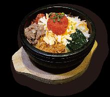 Stone-grilled spicy cod roe bibimbap